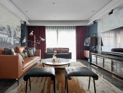 中式风格唯美客厅棕色沙发装修效果图