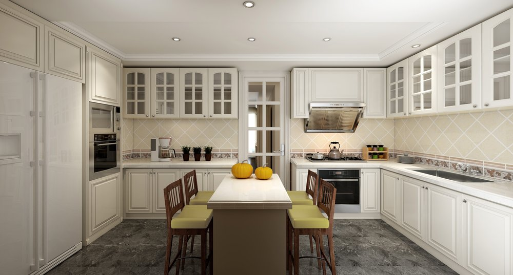 清新白色欧式厨房橱柜装修效果图 (1)