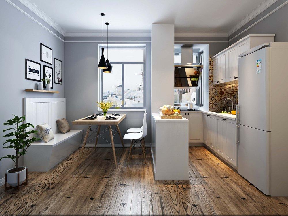 清新北欧风厨房白色橱柜装修效果图 (1)