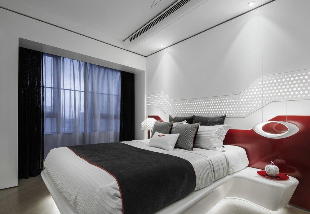 简约白色卧室背景墙装修效果图 (1)
