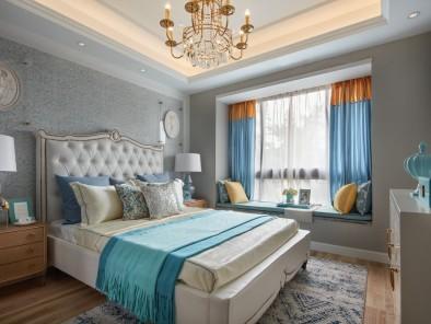 蓝色大气欧式风格卧室飘窗装修效果图 (1)