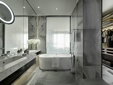 素雅北欧风卫生间白色浴缸装修效果图 (1)